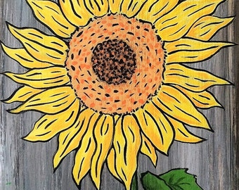 Sunflower, Sunflower Painted on Wood, Home Decor, Flower Art