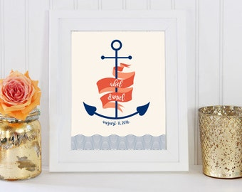 Nautical Nursery Print, Anchor Nautical Nursery Print, Personalized Name Printable Art Print / DIGITAL FILE
