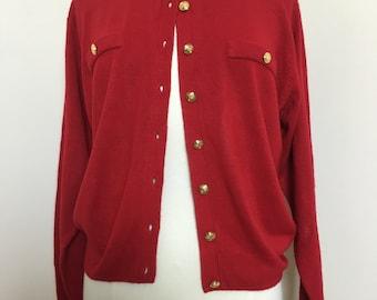 Vintage Kerry n Kelsey Red 100% soft acrylic cardigan