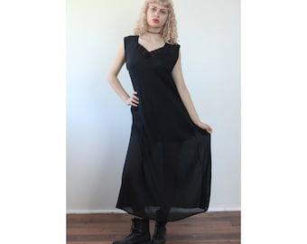 90s Grunge Dress // Black Slip Dress Vintage Lace Crochet Sheer Maxi - Medium to Large xl (2 in stock)