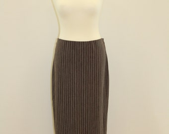 Pin Stripe Skirt (Black/Brown)