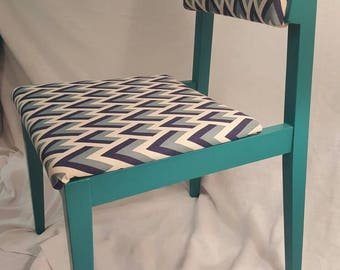 Florence Blue and Chevron Mid Century Modern chair