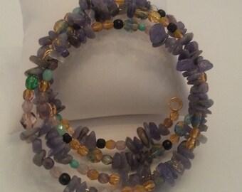 Wrap around bracelet with tanzanite and czech glass beads ref b11
