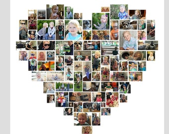 30x30 Custom Heart Photo Collage