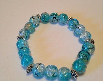Turquoise Blue Glass Beaded Bracelet.