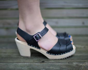 Swedish Clogs Peep Toe Black Leather by Lotta from Stockholm / Wooden Clogs / Summer Sandals / High Heel Shoes / Sweden / Scandinavian
