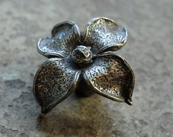 Vintage silver flower drawer pull hardware