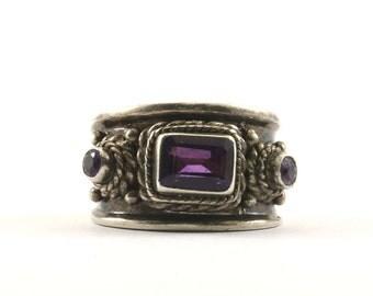Vintage Amethyst Three Stone Crystal Ring 925 Sterling Silver RG 2289-E
