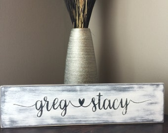 Personalized family name wood sign, wedding