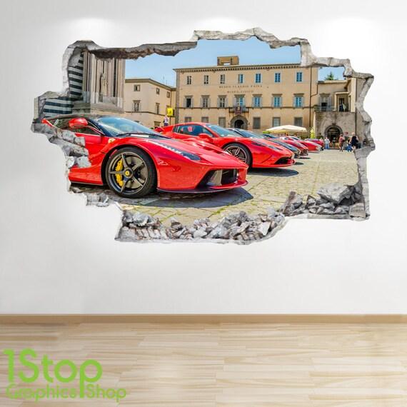 Ferrari wall sticker 3d look boys kids bedroom supercar wall - Wandtattoo ferrari ...