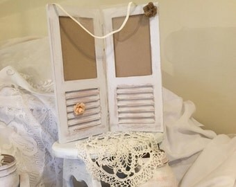 Picture frame, photo display, image holder: repurposed shutters, chalk painted, distressed, custom made.