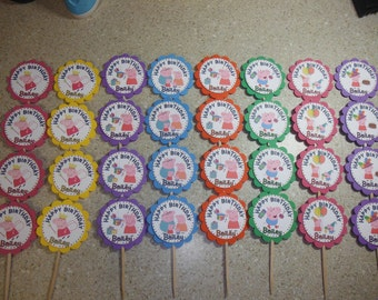 32 Peppa Pig Cupcake Toppers PERSONALIZED - Picks Party Favors