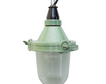 Green Soviet Factory Lamp, Bull-eye lamp, Industrial Light