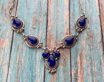 Vintage Native American Necklace, Lapis Native American Necklace