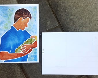 Father and Baby Postcard - Original Watercolor of Dad holding Baby - Father's Day