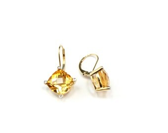 14k Yellow Gold Cushion Cut Citrine and Diamond Lever Back Dangle Earrings