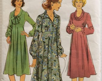 Vintage 1970's Style sewing pattern 2478 - Misses' high waisted dress  size 14