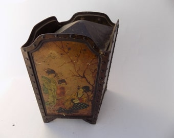 Antique Japanese Tin BoxRareTin Litho Box, Huntley & Palmers Vintage Advertising Biscuit canister Oriental Asian Bird Geisha
