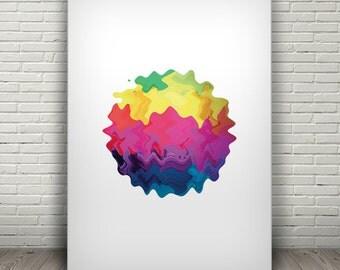 PAINT BLOB illustration, organic wall art, rainbow wall decor, liquid art, abstract poster, printable art, liquid graphics, artsy print