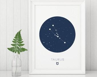 Taurus Print, Taurus wall art, Zodiac Prints, Digital Wall Art, Constellation Prints, Taurus Constellation, Horoscope Print, Blue Nursery