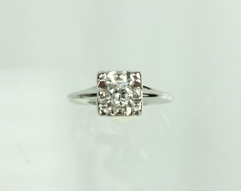 Vintage 1950's diamond solitaire engagement ring .25ct