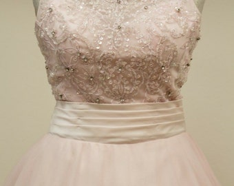 Powder dream, blush pink crystals decorated gown
