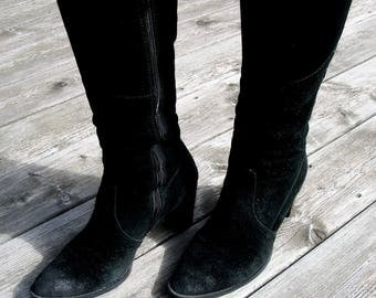 size 9 boots,womens black boots, nubuck leather boots, vintage suede boots, knee high boots, leather shoes, high heel boots