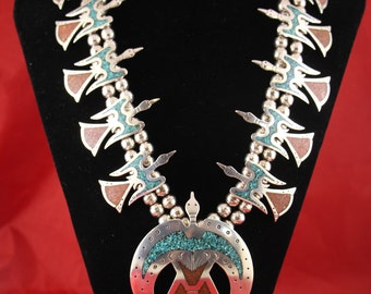 Vintage Sterling Silver Turquoise & Red Coral Peyote Bird Necklace and Bracelet