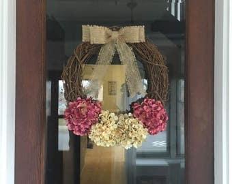 Rose Burlap Bow Hydrangea Wreath, Front Door Wreath, Hydrangea Wreath, Front Door Decor, Front Porch Decor, Burlap Wreath, Rustic Wreath