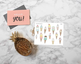 ice cream cones decoration stickers for bullet journals and planners - D085