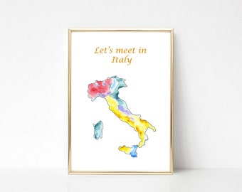 Italy Map Print Watercolor Wall Art Painting Poster Country Silhouette Original Watercolor