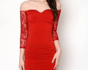 Red Off- Shoulder Lace Dress