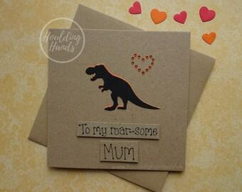 Funny T-Rex Dinosaur card for Mum, Mom or Step-Mum, Handmade dinosaur birthday card, Funny Mother's Day card, Recycled Kraft card