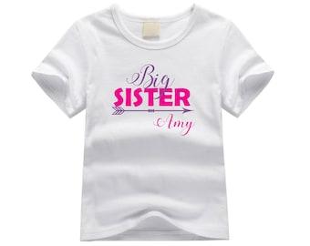 Personalized big sister shirt. Big sister arrow shirt. Cute custom pregnancy announcement shirt. Custom Sibling shirt.  New baby.