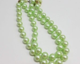 Think Spring with this Beautiful Double Strand Pale Green Beaded Necklace from Hong Kong!