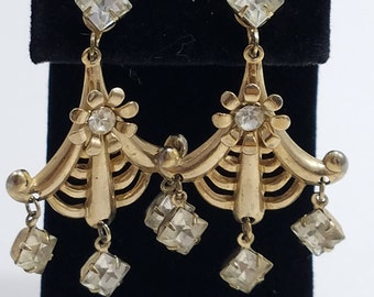 Gorgeous Chandelier Style Screw Back Clip Earrings with Rhinestones