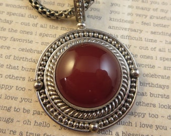 """Jasper Vintage Sterling Silver Necklace Pendant and Chain 18"""" Long Chain"""