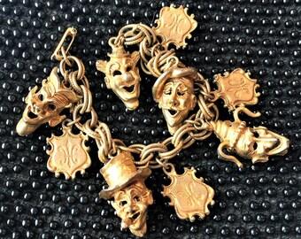 Vintage HAR Faces Charm Bracelet Jester Artiste FLeur de Lis Gold Signed Rare