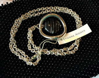 Etienne Aigner Silver Stone Long Necklace Original Tags 30 inch