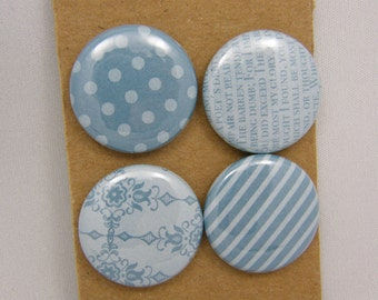 "Lot of 4 badges 1 ""patterns & Textures blue sky series"