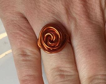 Orange Wire Statement Ring