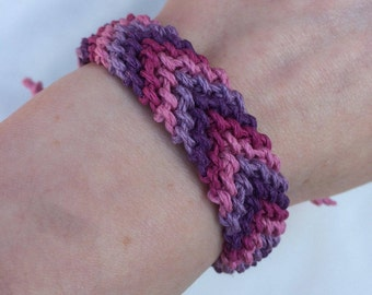 Pink and Purple Hemp Cord Friendship Bracelet, chunky, adjustable, chevrons