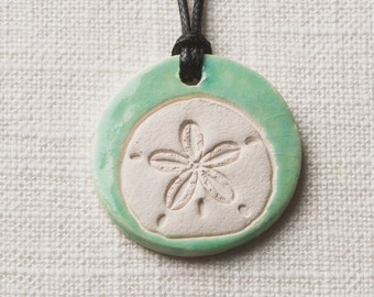 Essential Oil  Necklace/Ceramic/Comes with Free Pure Lavender Oil/Sand Dollar Necklace/Free Gift Wrap/Beach Wedding