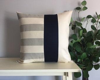 Decorative Pillow Cover, Color Block Pillow, Pillow with Blue Stripe