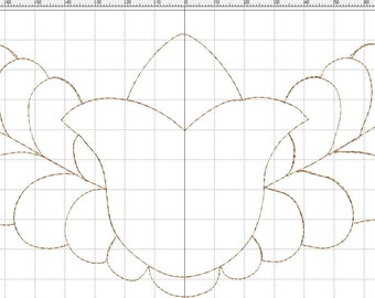 "Embroidery file ""Bellflower with leaves"" quilt and AcuFil tool"