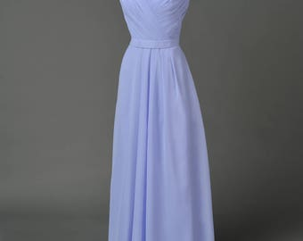 Lilac/ Lavender chiffon halter gown