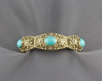 Vintage Chinese Export Gilt Silver And Turquoise Panel Bracelet