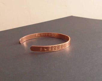 Blessed, Loved, Thankful hand stamped cuff bracelet. Inspirational gift in copper