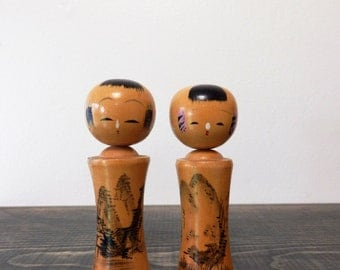 Pair of 2 Vintage Japanese Kokeshi Dolls, Bobble Head, Nodder, Made in Japan, Vintage Dolls, Hand Painted