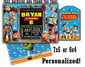 Toy Story invitation SALE Toy Story Invite FREE Thank You Tags, Free Backside, Toy story thank you tags Toy story party Toy story invites